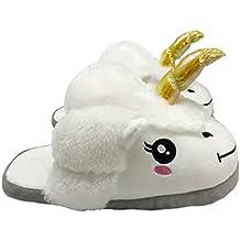 Zapatillas Felpa de Casa Zapatos Peluche Suave Cómodo Unicornio para Adulto Color Blanco