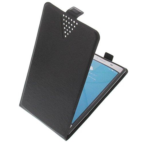 foto-kontor Tasche für Doogee Y300 Flip Style Ultra-dünn Schutz Hülle Schwarz