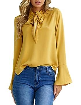 Damen Tops Flare Hülse V-Ausschnitt Bluse Casual Oberteile T-shirt (XL, Gelb)