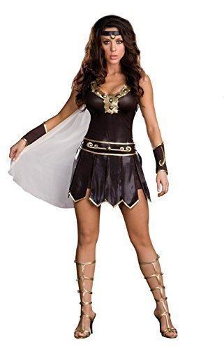 Damen Xena Krieger/Kämpfer Römische Göttin Kostüm Kleid Handschuhe und Stirnband Größe ()