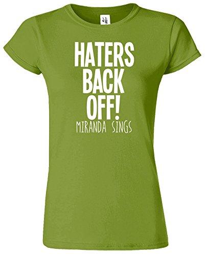 Haters Back Off Mirnada Sings Dames T Top T-Shirt Cadeau Kiwi / Blanc Design