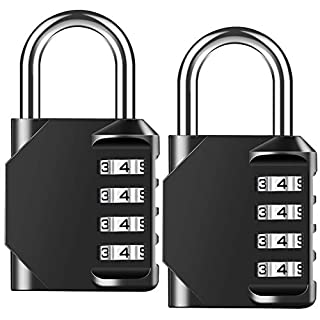 Combination Padlock Heavy Duty Lock - BeskooHome Waterproof 4-Digit Combination Lock for School, Gym, Outdoor Shed Locker - 2 Pack