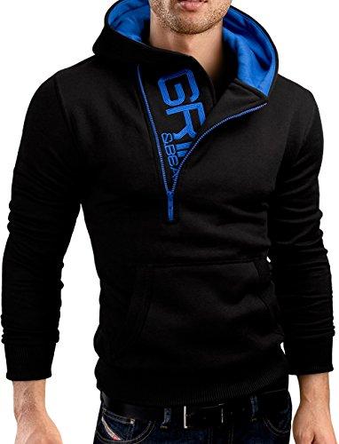 Grin&Bear Slim fit Halfzip Jacke Kapuze Hoodie Sweatshirt Kapuzenpullover, schwarz, XXL, GEC401 -