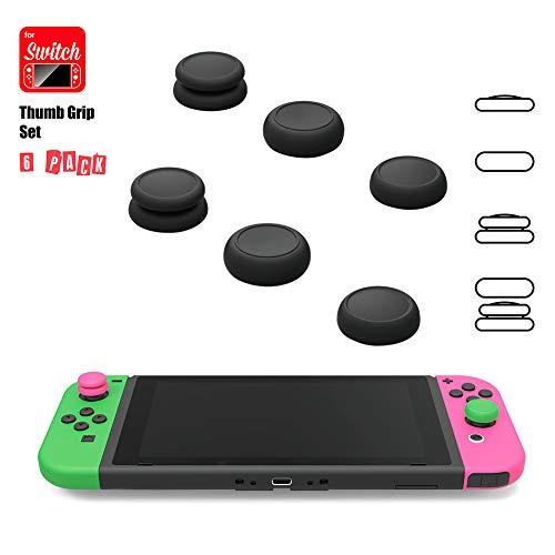 zzpopGG Joystick-Kappe, rutschfest, für Nintendo Switch, Rot/Rot, 6 Stück Red + Blue