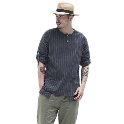 BaronHong Mens Chinese Kragen Striped Long Sleeve Leinen T-Shirt Sommer Tops (Dunkelblau, 4XL) (Striped Henley Long Sleeve Shirt)