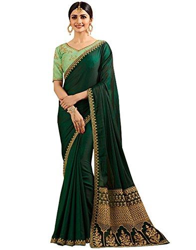 SareeShop Georgette Saree With Blouse Piece (SparkleGreen_green_Free Size)