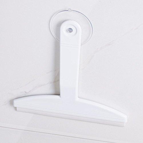 mDesign Rasqueta limpiacristales para mamparas de ducha – Limpiacristales con ventosa para colgar – Limpiador de cristales para baño, cabinas de ducha y azulejos – Plástico color blanco