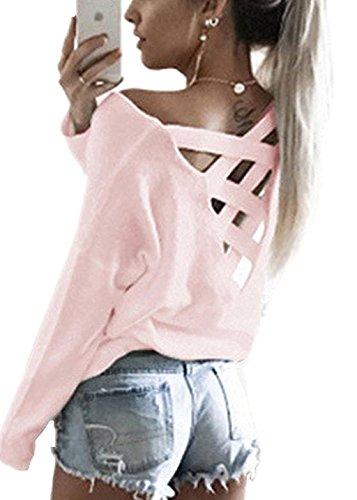 ANDERINA Damen Pulli Langarm Zurück V Ausschnitt T-Shirt Rundhals Ausschnitt Lose Bluse Langarmshirts Hemd Pullover Oversize Sweatshirt Oberteil Tops Shirts Grün XL (Tunika V-ausschnitt Zurück)