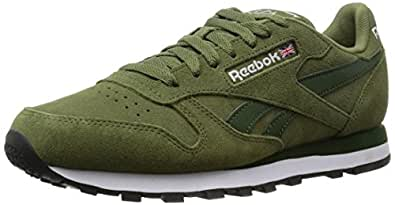 Reebok Classic Leather Suede, Sneakers basses homme, Vert - Grün (Canopy Green/Scout Green/White/Black), 44