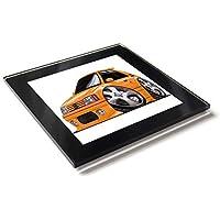 Koolart - Posavasos de cristal con caja de regalo para coche Peugeot 205 GTI, naranja