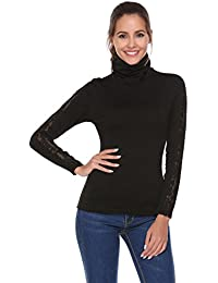 Zeagoo Women Casual Turtle Neck Lace Crochet Long Sleeve Knit Pullover Blouse Top