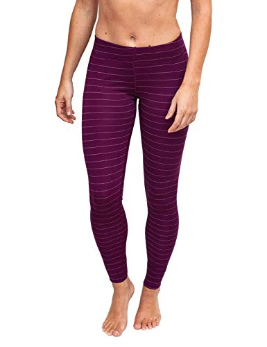WoolX Avery Damen Woll-Leggings Midweight Merino Base Layer Pants Warm & Soft, Damen, Avery Leggings, Mulberry Stripe, Large - Antimikrobielle Unterwäsche
