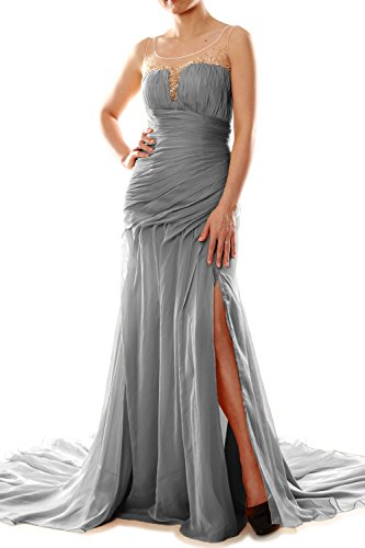MACloth Women Mermaid Chiffon Long Prom Dress Formal Evening Party Ball Gown Grau