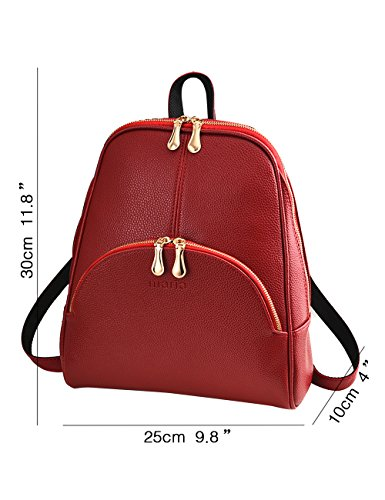 Menschwear Ladies Un-colore Semplice Stile Pu Cuoio Casual Borsa Da Viaggio Zaino Da Viaggio Nero Rosso-vienna