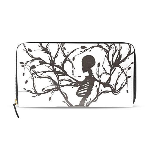XiangHeFu Damen Portemonnaie Art Skelett Baum des Lebens Clutch Tasche Reißverschluss Leder
