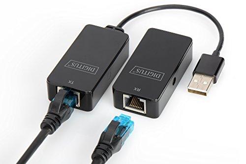 DIGITUS USB-Extender - Reichweite 50 m - USB 2.0 - UTP, STP & S-FTP Netzwerk-Kabel ab Cat-5 - Plug & Play - Schwarz