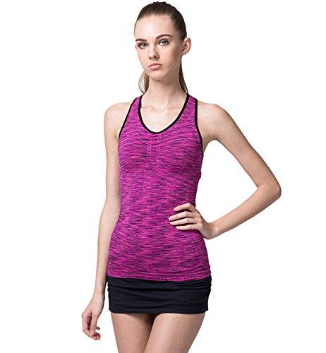 Hilarocky Canotta da Donna Sportiva Asciugatura Veloce Tank Top Spalline Incrociate sulla Schiena per Yoga Corso Fitness Ginnastica