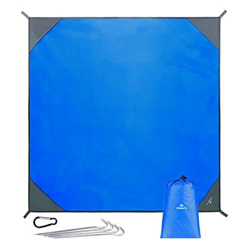 PHILORN Grande Manta de Picnic Esterilla de Playa(200×200 cm) con 4 Estacas Metálicas Plegable Portátil Impermeable Ligero para Viajar, Acampada (Azul, 200 x 200 cm)