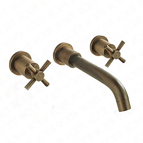 Deluxe Faucet 2017 Classic Vintage Twin Cross Handles Antique Brass Bathroom Faucet Wall Mounted Basin Mixer Tap Old Style