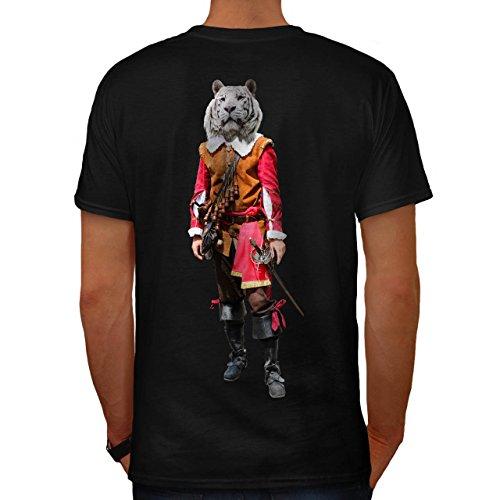 Tiger Ritter Cool Komisch Kostüm Katze Herren M T-shirt Zurück | (Emoji Kostüm Herz Katze)