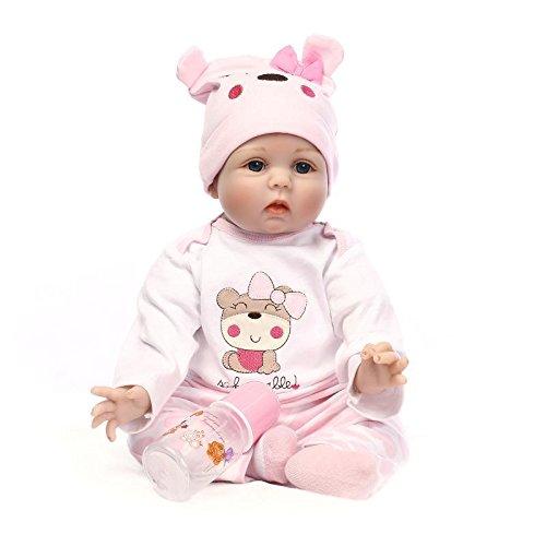 Nicery Reborn Baby Doll Renacer Bebé la Muñeca Vinilo Simulación Silicona Suave 22 Pulgadas 55cm Boca Magnética Natural Niña Niño Juguete vívido para 3 años +