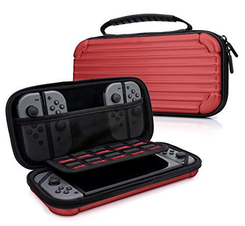 sche Aluminium Design Case für Nintendo Switch, Joy Con Controller & min. 10 NDS Spiele - Tragetasche Hardcase Schutzhülle in Rot ()