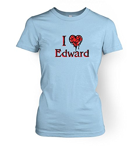 I Heart Edward Damen fitted t-shirt (X Large (approx size 14)/Light Blau) (T-shirt Light Edward)