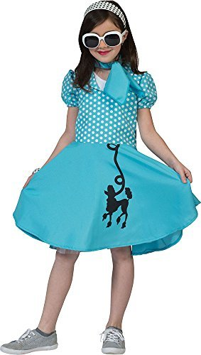 Kleider Pudel (Mädchen 1950's Rock n Roll ausgefallen Party Outfit gepunktet Pudel Kleid Kostüm blau - Blau,)