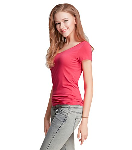 ... Liang Rou Damen Mini-Gerippt Stretch T-Shirt mit V-Ausschnitt Rose Red  ...