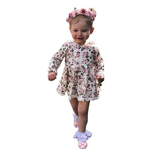 Hirolan Baby Mädchen Blumen Spitze Kleid Festzug Prinzessin Rock Kleider (130, (Kostüme Soft Red)