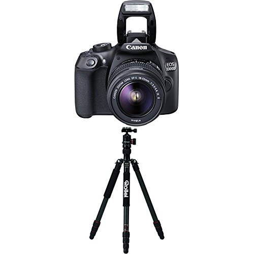 Canon 1160C026 EOS 1300D Digitale Spiegelreflexkamera (18 Megapixel, APS-C CMOS-Sensor, WLAN mit NFC, Full-HD) Kit inkl. EF-S 18-55mm IS Objektiv+Rollei C5i Carbon Black