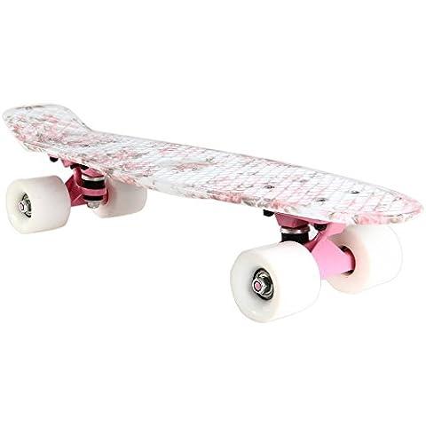 SmartLife Monopatín Rueda Skateboard Tablero de Carga 100kg Retro Patrón Flores para Deporte al Aire Libre
