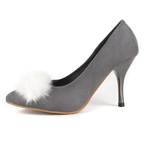Talons Mariage Puntiagudo Aiguille Hauts Escarpins Gris Femmes De TAOFFEN Chaussures Occidental ZPXSw
