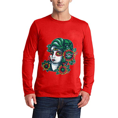 garm T-Shirt Girl Tattoo Hand Drawn Vintage Illuminati Retro Ink Drawing Classic Abstract Color(X-Large,Red) ()