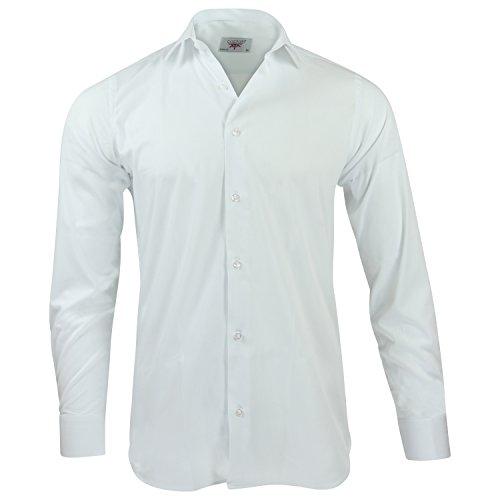 Captain Slim Fit Herren Hemden (in 24 Verschiedenen Farben) Langarm-Hemd 100% Baumwolle (L, Weiß)