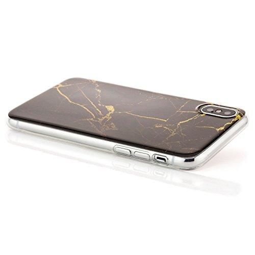 zanasta iPhone X Hülle Silikon Case Schutzhülle Ultra Slim Back Cover mit Motiv Marmor-Ornament Schwarz-Gelb