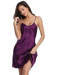 0d5b1a3fa Vlazom Women Negligees Satin Nightdress Spaghetti Strap Chemises Slip V  Neck Sleepwear Nightgown