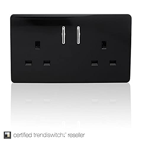 2 Gang Artistic Modern Glossy 13 Amp Double Electrical Switched Plug Socket Black