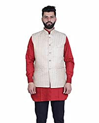 Veera Paridhaan Printed Beige Party wear Nehru Jacket(VP00706344)