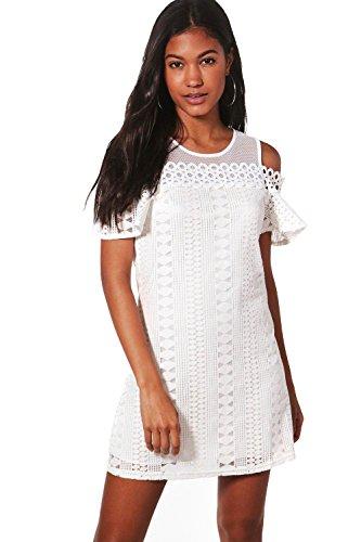 Damen Weiß Lizzie Kleid Aus Webmaterial Mit Ausgeschnittenen Schultern Weiß