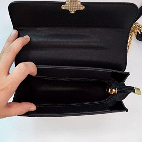 Milya Kleine Umhängetasche PU-Leder Schultertasche Damen Clutch Leder Einfach Handtasche abziehbar Handbag Crossbody Multifunktionale kette-Tasche mit Nietbolzen Schwarz