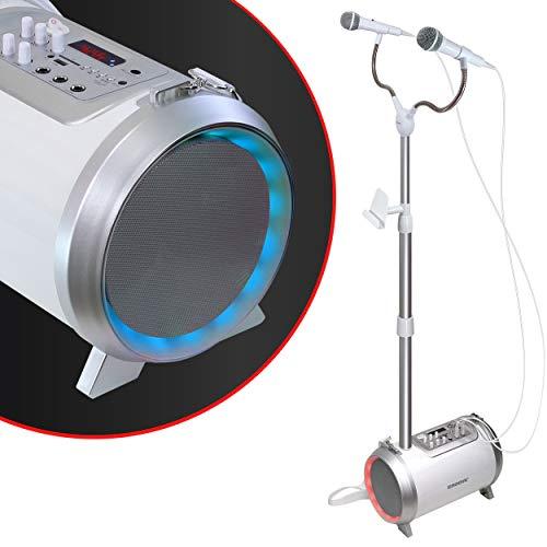 Karaoke-Maschine für Erwachsene und Kinder mit 2 Mikrofonen, Musik über AUX, USB, SD-Kartenslot oder Bluetooth