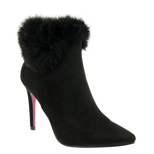 Angkorly - damen Schuhe Stiefeletten - Stiletto - Pelz Stiletto 10 CM Schwarz