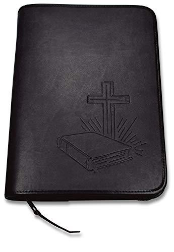 Uljö Hochwertige Bibelhüllen mit Motiv-Prägung Bibel/Kreuz (groß, Schwarz)
