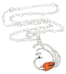 niceeshop(TM) Fashion Crystal Rhinestone Flash Gem Phoenix Pendant Necklace,Orange