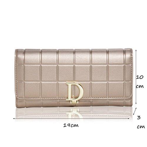 CLOTHES- Sacchetto di borsa dell'inarcamento della borsa del raccoglitore del cuoio della signora della borsa Sezione lunga Semplicità di svago Borsa di multi-card di capacità elevata ( Colore : Viola Oro