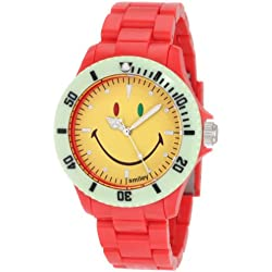 "Smiley ""Happy Time"" Men's Colour Block Analogue Watch WGS-CBRV01 with Red Polycarbonate Strap and Yellow Face"