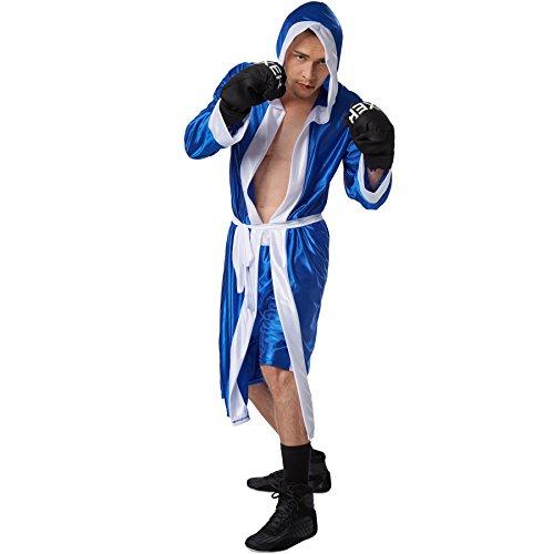 Ring Kostüm Boxer Mädchen - dressforfun Herrenkostüm Boxer | kurze Shorts mit Gummizug | Boxermantel mit Kapuze | Inkl. Boxhandschuhe und Gürtel (Blau XL | Nr. 301832)