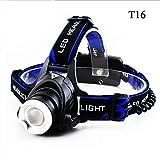 TOOMD LED Stirnlampe Kopfleuchte T6 Wiederaufladbar Scheinwerfer Wasserdicht USB Kabel mit Zwei Wiederaufladbare Akkus Verstellbare 3 Helligkeits-Modi für Camping Wandern Laufen Radfahren
