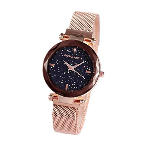 Damen Uhren, L'ananas Frauen Mode Diamant schneiden Sternenhimmel Zifferblatt Mesh Riemen Armband Armbanduhr Bracelet Women Watches (Gold)